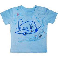 Tricou baieti pictat manual, 9-12 luni, Little Airplane