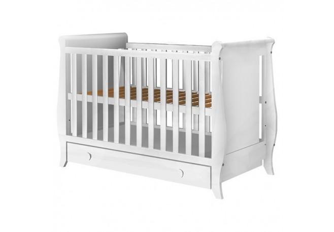 Patut copii din lemn Hubners Mira 120x60 cm alb cu sertar