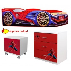 Pat masina Spiderman + comoda - noptiera cadou