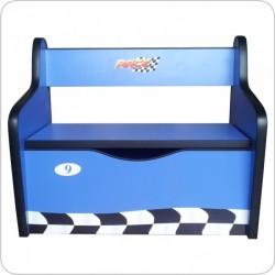 Bancuta lemn Hotwheels albastru cu spatiu de depozitare