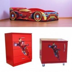 Pachet pat Iron Man + comoda + noptiera cadou