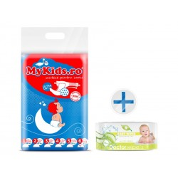 Scutece Copii MyKids New Junior+ 6 (12-30 KG ) 46 Buc Cadou Servetele Umede Doctor Wipes Aloe fara capac