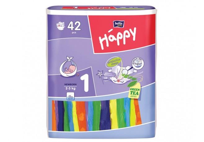 Scutece HAPPY 1 Newborn (2-5 Kg) 42 BUC